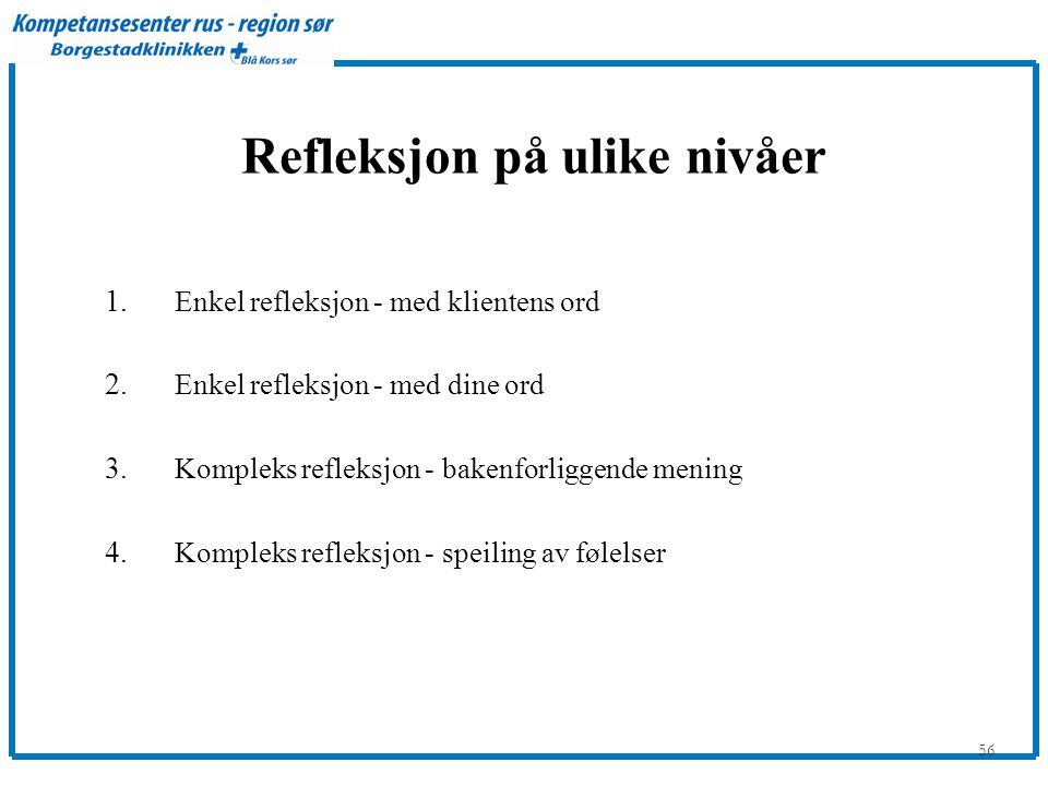 56 Refleksjon på ulike nivåer 1.Enkel refleksjon - med klientens ord 2.
