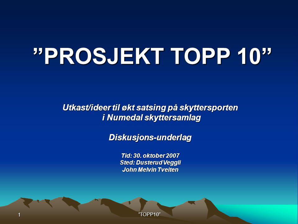 1 TOPP10 Utkast/ideer til økt satsing på skyttersporten i Numedal skyttersamlag i Numedal skyttersamlagDiskusjons-underlag Tid: 30.