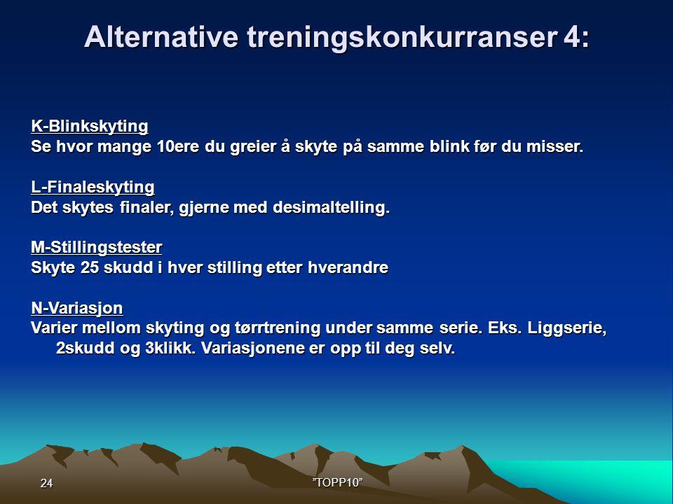 24 TOPP10 Alternative treningskonkurranser 4: K-Blinkskyting Se hvor mange 10ere du greier å skyte på samme blink før du misser.