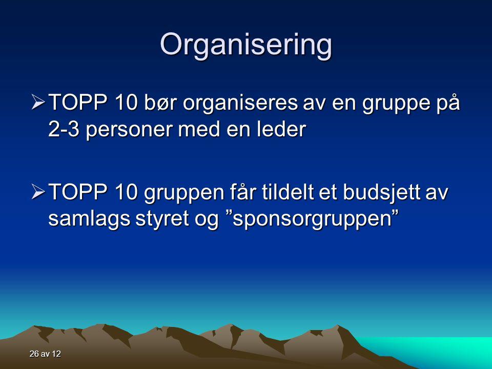 26 av 12 Organisering  TOPP 10 bør organiseres av en gruppe på 2-3 personer med en leder  TOPP 10 gruppen får tildelt et budsjett av samlags styret og sponsorgruppen