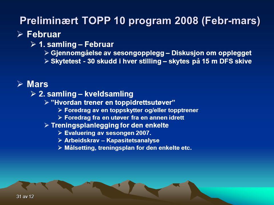 31 av 12 Preliminært TOPP 10 program 2008 (Febr-mars)  Februar  1.