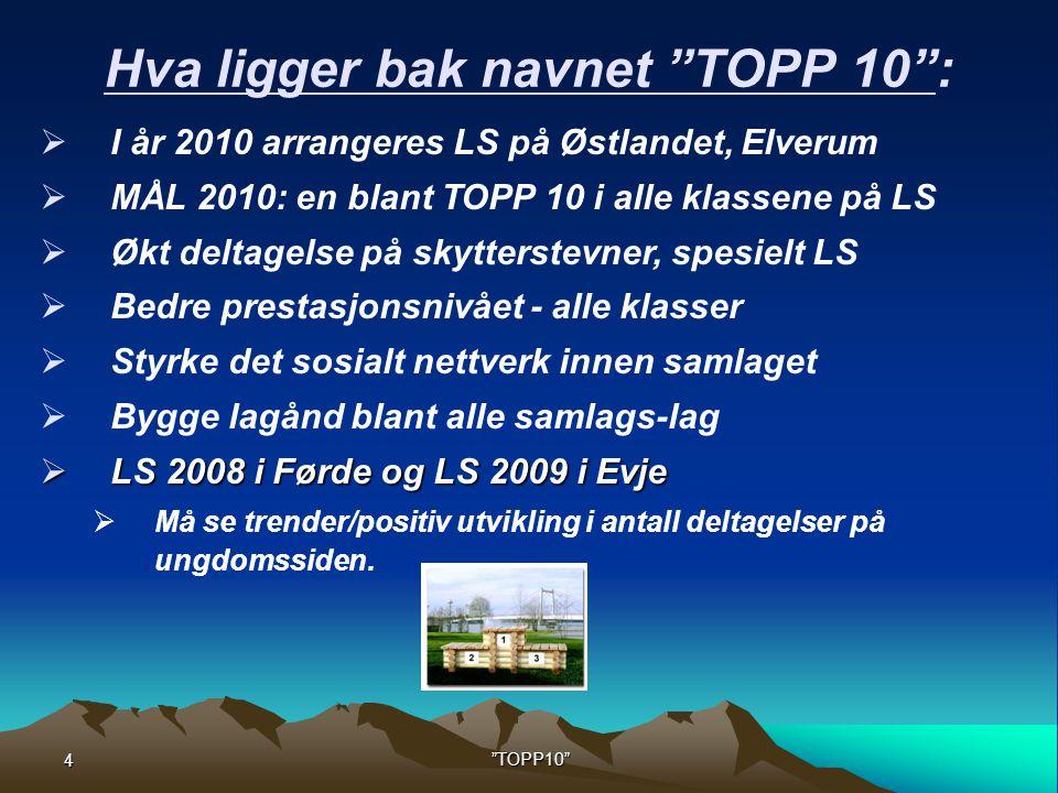 4 TOPP10 Hva ligger bak navnet TOPP 10 :  I år 2010 arrangeres LS på Østlandet, Elverum  MÅL 2010: en blant TOPP 10 i alle klassene på LS  Økt deltagelse på skytterstevner, spesielt LS  Bedre prestasjonsnivået - alle klasser  Styrke det sosialt nettverk innen samlaget  Bygge lagånd blant alle samlags-lag  LS 2008 i Førde og LS 2009 i Evje  Må se trender/positiv utvikling i antall deltagelser på ungdomssiden.