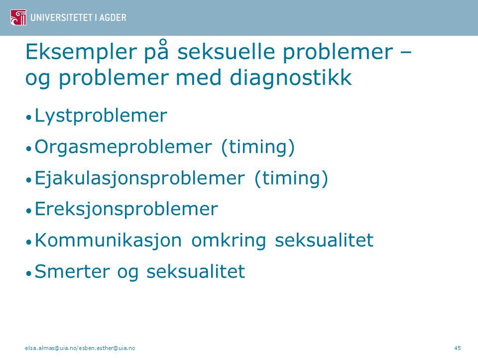 Seksuelle problemer i parforhold – forståelse og behandling elsa.almas@uia.no/esben.esther@uia.no44
