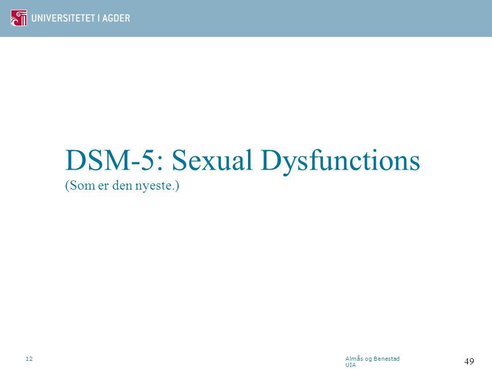 ICD-10: Seksuell dysfunksjon som ikke skyldes somatisk lidelse F52.5 Ikke-organisk vaginisme F52.6 Ikke-organisk dyspareuni F52.7 Forsterket seksualdr