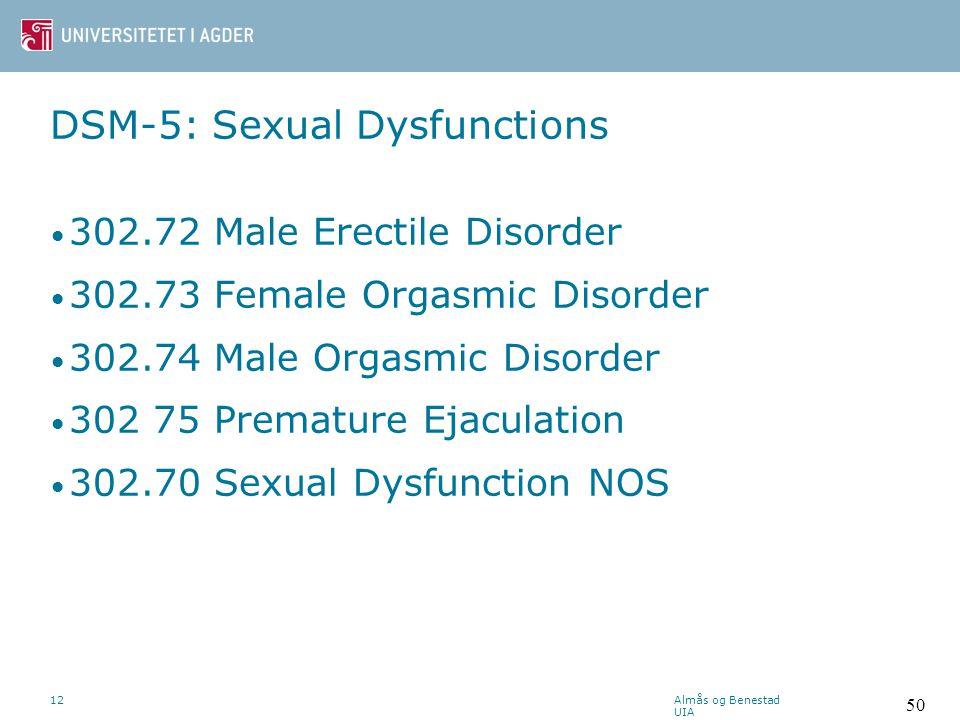 DSM-5: Sexual Dysfunctions (Som er den nyeste.) Almås og Benestad UIA 12 49
