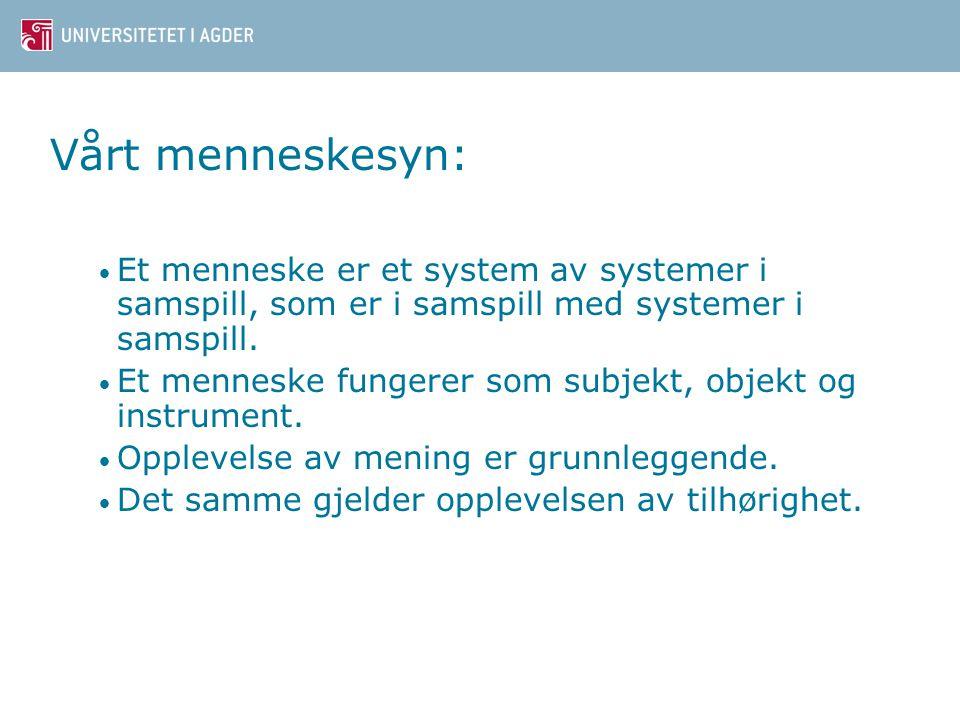 Vårt menneskesyn: • Et menneske er et system av systemer i samspill, som er i samspill med systemer i samspill.