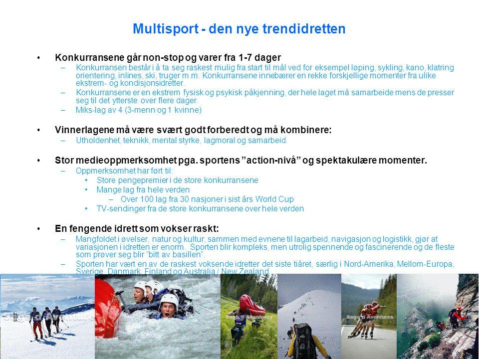 Multisport - den nye trendidretten •Konkurransene går non-stop og varer fra 1-7 dager –Konkurransen består i å ta seg raskest mulig fra start til mål ved for eksempel løping, sykling, kano, klatring orientering, inlines, ski, truger m.m.