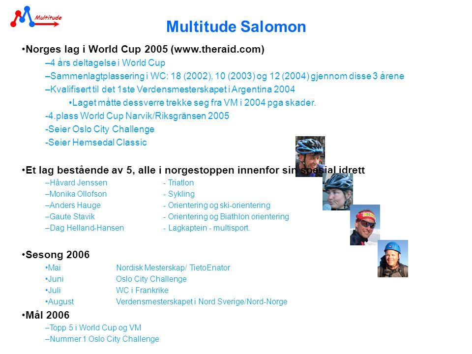 Multitude Salomon •Norges lag i World Cup 2005 (www.theraid.com) –4 års deltagelse i World Cup –Sammenlagtplassering i WC: 18 (2002), 10 (2003) og 12 (2004) gjennom disse 3 årene –Kvalifisert til det 1ste Verdensmesterskapet i Argentina 2004 •Laget måtte dessverre trekke seg fra VM i 2004 pga skader.