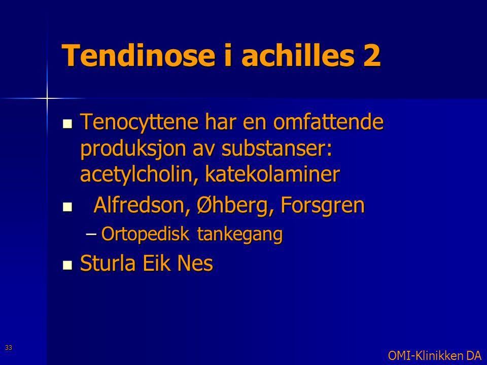 Tendinose i achilles 2  Tenocyttene har en omfattende produksjon av substanser: acetylcholin, katekolaminer  Alfredson, Øhberg, Forsgren –Ortopedisk