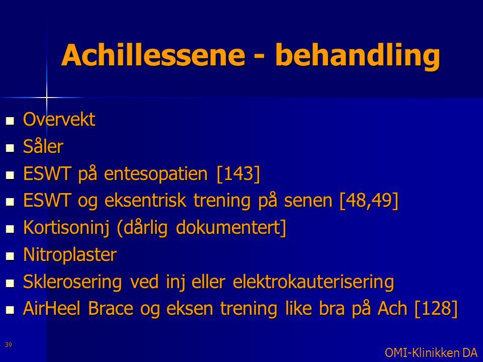 Achillessene - behandling  Overvekt  Såler  ESWT på entesopatien [143]  ESWT og eksentrisk trening på senen [48,49]  Kortisoninj (dårlig dokument