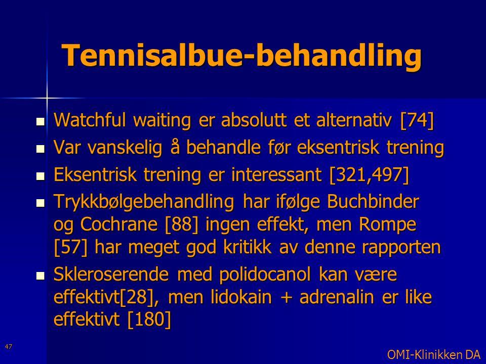 Tennisalbue-behandling  Watchful waiting er absolutt et alternativ [74]  Var vanskelig å behandle før eksentrisk trening  Eksentrisk trening er int
