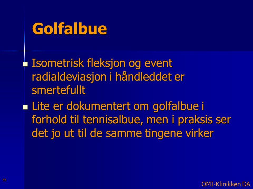 Golfalbue  Isometrisk fleksjon og event radialdeviasjon i håndleddet er smertefullt  Lite er dokumentert om golfalbue i forhold til tennisalbue, men