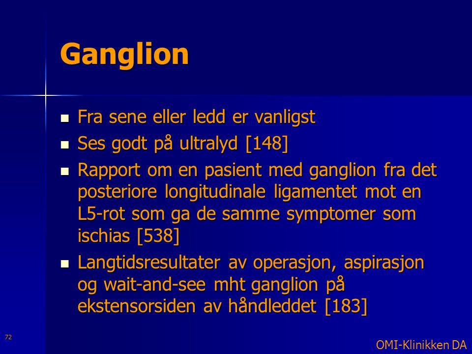 Ganglion  Fra sene eller ledd er vanligst  Ses godt på ultralyd [148]  Rapport om en pasient med ganglion fra det posteriore longitudinale ligament