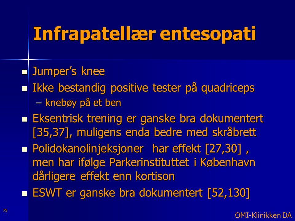 Infrapatellær entesopati  Jumper's knee  Ikke bestandig positive tester på quadriceps –knebøy på et ben  Eksentrisk trening er ganske bra dokumente