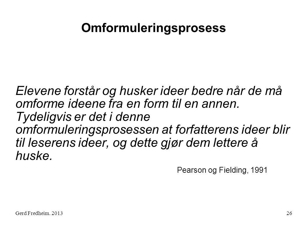 Gerd Fredheim. 2013 Omformuleringsprosess Elevene forstår og husker ideer bedre når de må omforme ideene fra en form til en annen. Tydeligvis er det i