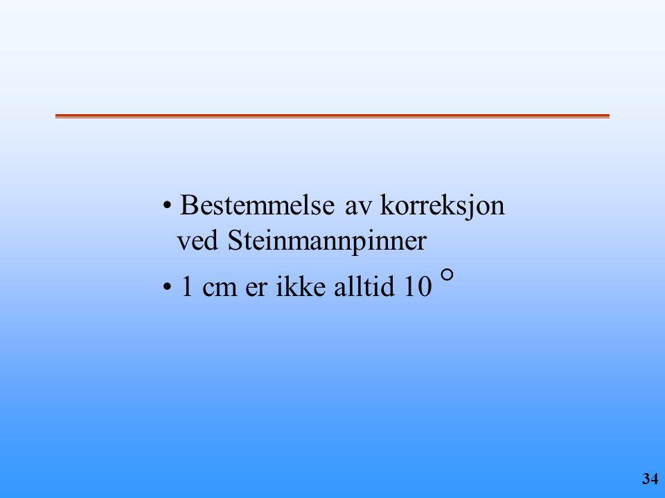 34 • Bestemmelse av korreksjon ved Steinmannpinner • 1 cm er ikke alltid 10 °
