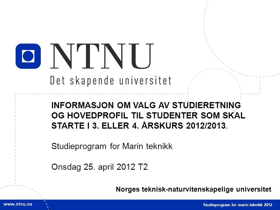 1 NTNU mars 2009 INFORMASJON OM VALG AV STUDIERETNING OG HOVEDPROFIL TIL STUDENTER SOM SKAL STARTE I 3.