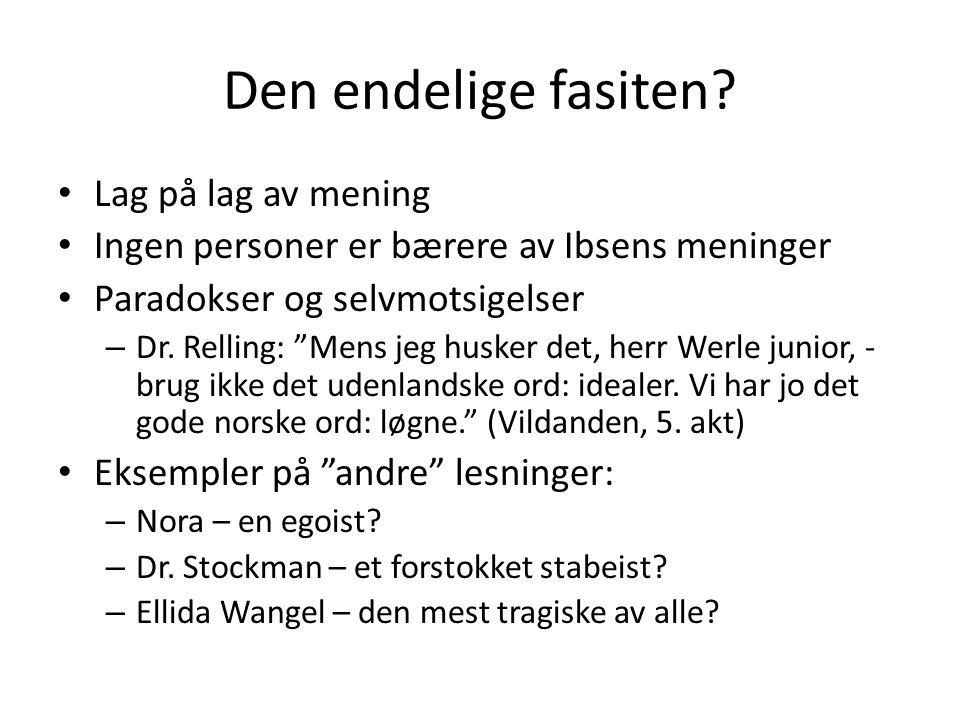 """Den endelige fasiten? • Lag på lag av mening • Ingen personer er bærere av Ibsens meninger • Paradokser og selvmotsigelser – Dr. Relling: """"Mens jeg hu"""