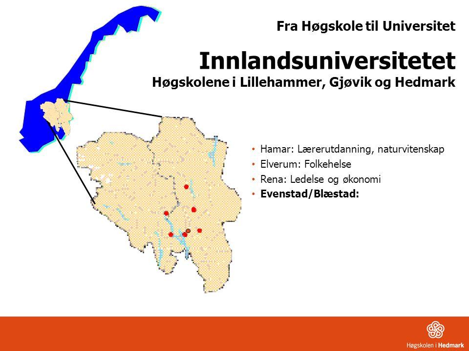 Fra Høgskole til Universitet Innlandsuniversitetet Høgskolene i Lillehammer, Gjøvik og Hedmark • Hamar: Lærerutdanning, naturvitenskap • Elverum: Folk