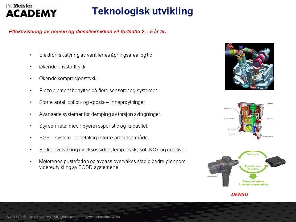 Side 2 © 2014 ProMeister Academy / All rights reserved / www.promeister.com Teknologisk utvikling Effektivisering av bensin og dieselteknikken vil for