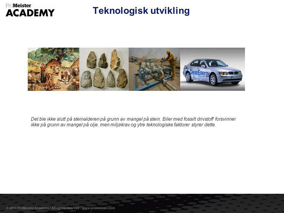 Side 6 © 2014 ProMeister Academy / All rights reserved / www.promeister.com Teknologisk utvikling Det ble ikke slutt på steinalderen på grunn av mange
