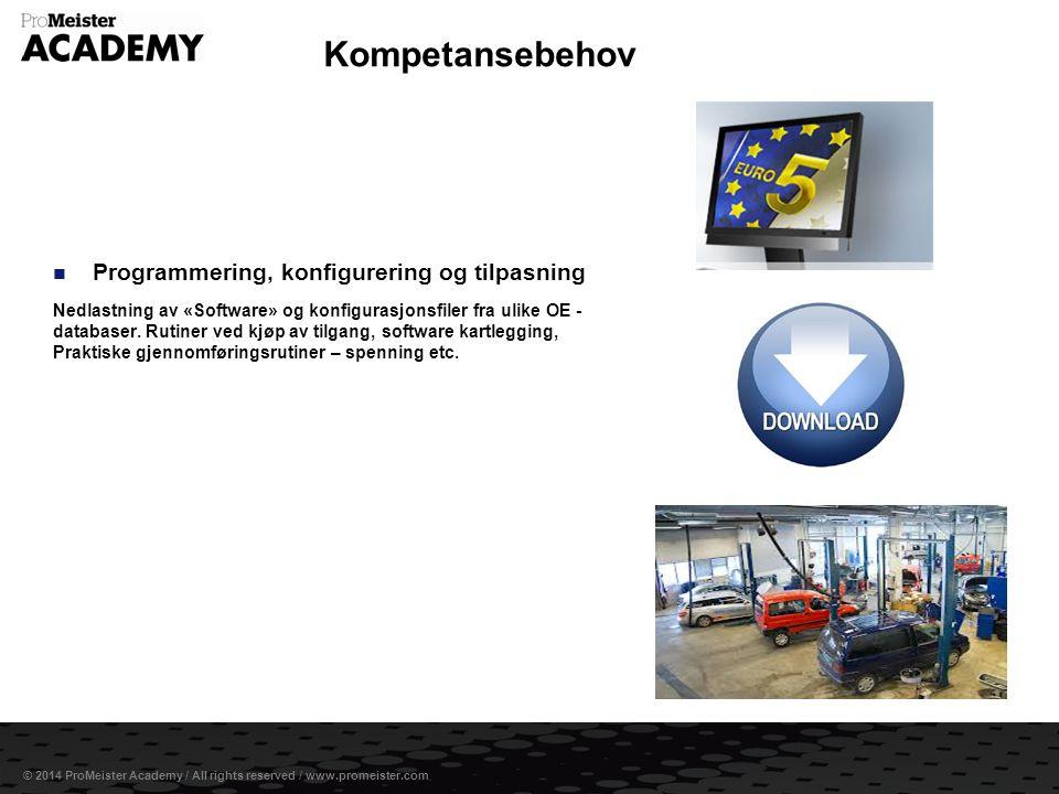 Side 9 © 2014 ProMeister Academy / All rights reserved / www.promeister.com  Programmering, konfigurering og tilpasning Nedlastning av «Software» og konfigurasjonsfiler fra ulike OE - databaser.