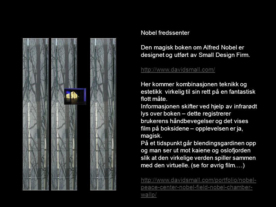 Nobel fredssenter Den magisk boken om Alfred Nobel er designet og utført av Small Design Firm.