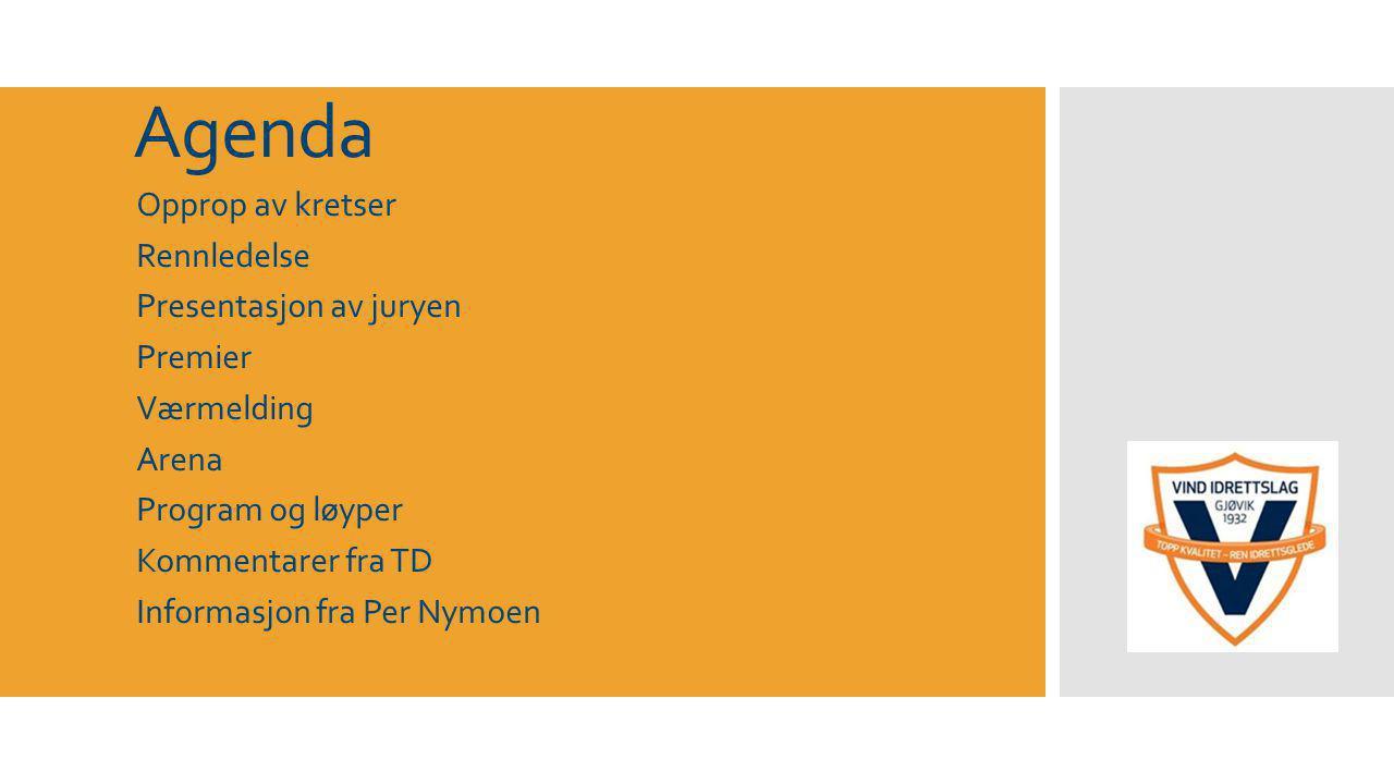 Agenda Opprop av kretser Rennledelse Presentasjon av juryen Premier Værmelding Arena Program og løyper Kommentarer fra TD Informasjon fra Per Nymoen