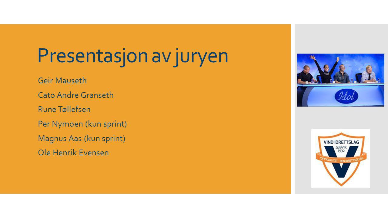 Presentasjon av juryen Geir Mauseth Cato Andre Granseth Rune Tøllefsen Per Nymoen (kun sprint) Magnus Aas (kun sprint) Ole Henrik Evensen