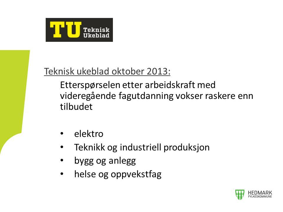 Teknisk ukeblad oktober 2013: Etterspørselen etter arbeidskraft med videregående fagutdanning vokser raskere enn tilbudet • elektro • Teknikk og industriell produksjon • bygg og anlegg • helse og oppvekstfag