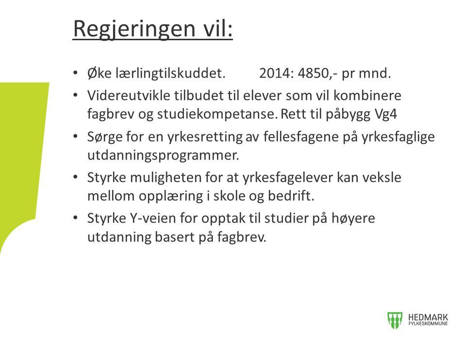 • Øke lærlingtilskuddet. 2014: 4850,- pr mnd.