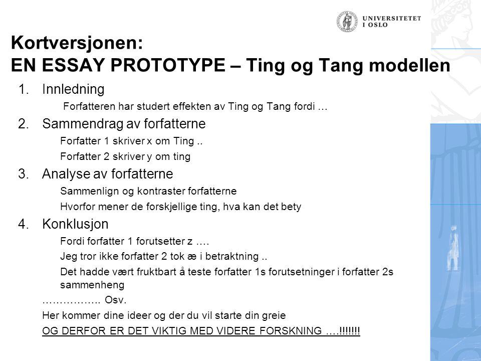 Kortversjonen: EN ESSAY PROTOTYPE – Ting og Tang modellen 1.Innledning Forfatteren har studert effekten av Ting og Tang fordi … 2.Sammendrag av forfatterne Forfatter 1 skriver x om Ting..