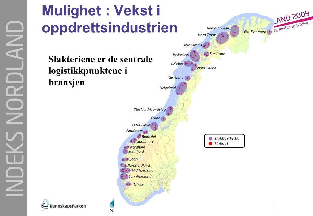 Mulighet : Vekst i oppdrettsindustrien Slakteriene er de sentrale logistikkpunktene i bransjen