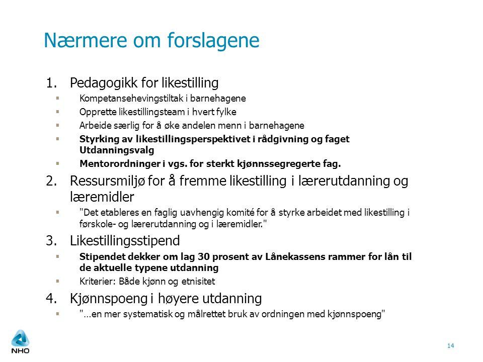 Nærmere om forslagene 1.Pedagogikk for likestilling  Kompetansehevingstiltak i barnehagene  Opprette likestillingsteam i hvert fylke  Arbeide særli