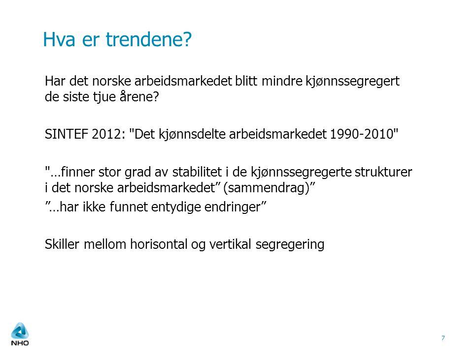 Hva er trendene? Har det norske arbeidsmarkedet blitt mindre kjønnssegregert de siste tjue årene? SINTEF 2012:
