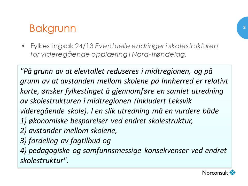 Parallelle prosesser Fylkestingsak 24/13: •Fylkestinget ber i tillegg om en egen utredning av alternativet med felles skole for Rissa/Leksvik i samarbeid med Sør-Trøndelag fylkeskommune.