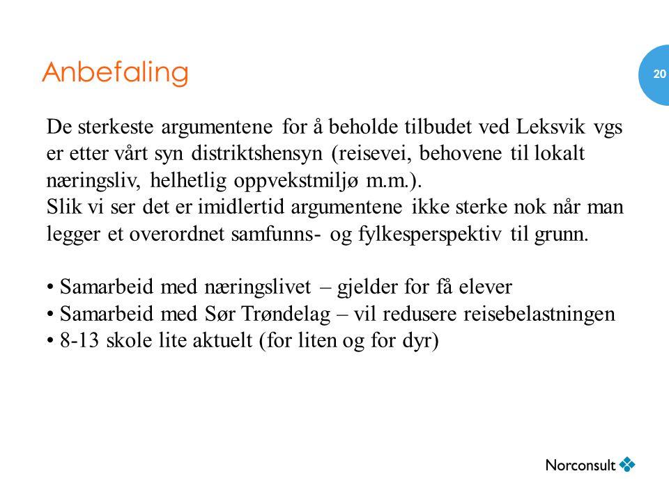 Anbefaling 20 De sterkeste argumentene for å beholde tilbudet ved Leksvik vgs er etter vårt syn distriktshensyn (reisevei, behovene til lokalt nærings