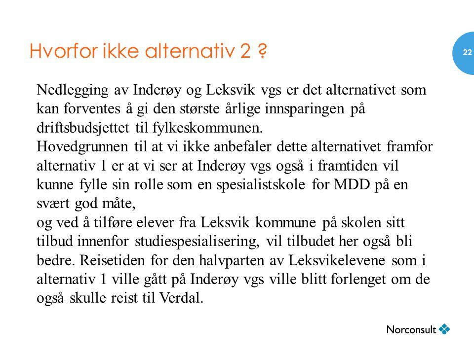 Hvorfor ikke alternativ 2 ? 22 Nedlegging av Inderøy og Leksvik vgs er det alternativet som kan forventes å gi den største årlige innsparingen på drif