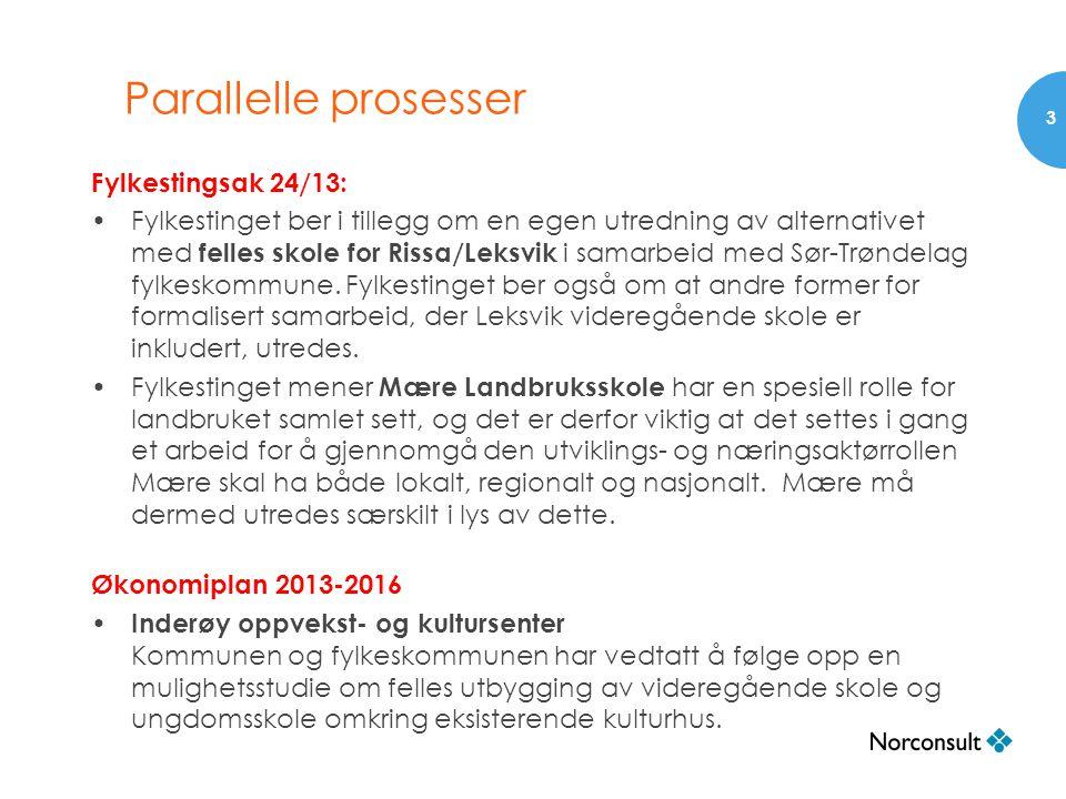 Parallelle prosesser Fylkestingsak 24/13: •Fylkestinget ber i tillegg om en egen utredning av alternativet med felles skole for Rissa/Leksvik i samarb