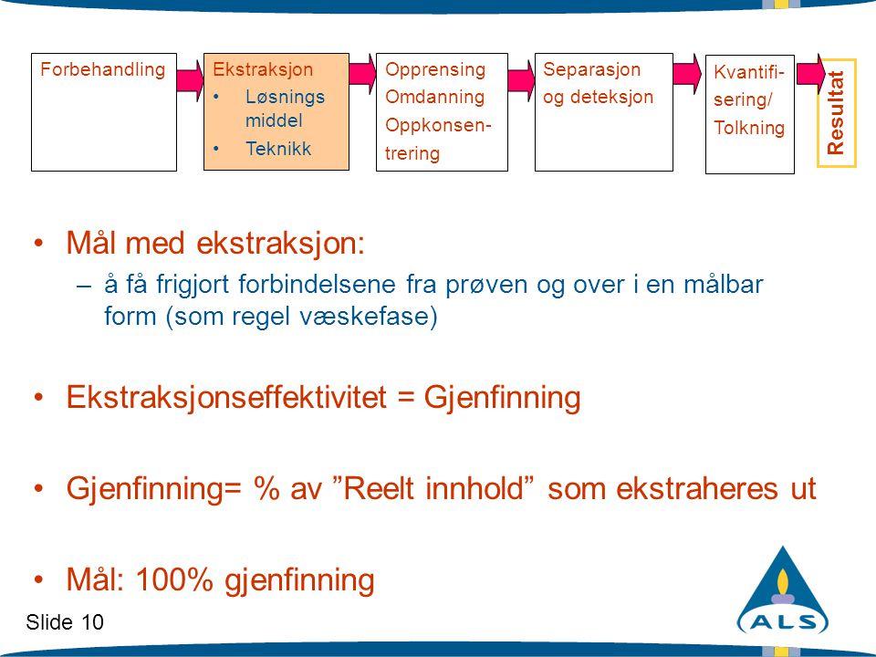 Slide 10 ForbehandlingEkstraksjon •Løsnings middel •Teknikk Opprensing Omdanning Oppkonsen- trering Separasjon og deteksjon Resultat •Mål med ekstraks
