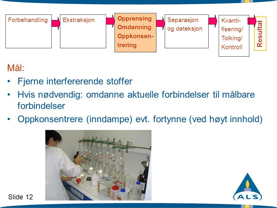 Slide 12 ForbehandlingEkstraksjon Opprensing Omdanning Oppkonsen- trering Separasjon og deteksjon Resultat Mål: •Fjerne interfererende stoffer •Hvis n