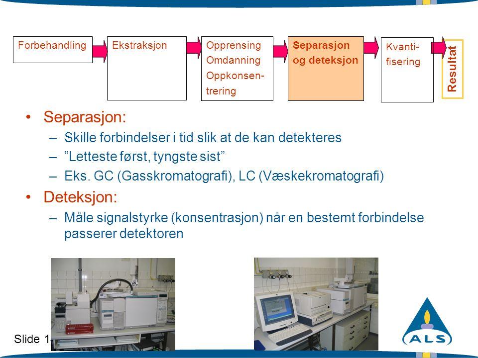 Slide 14 ForbehandlingEkstraksjonOpprensing Omdanning Oppkonsen- trering Separasjon og deteksjon Resultat •Separasjon: –Skille forbindelser i tid slik
