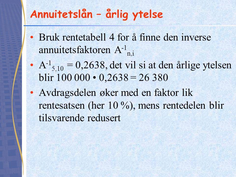 Annuitetslån – årlig ytelse •Bruk rentetabell 4 for å finne den inverse annuitetsfaktoren A -1 n,i •A -1 5,10 = 0,2638, det vil si at den årlige ytels