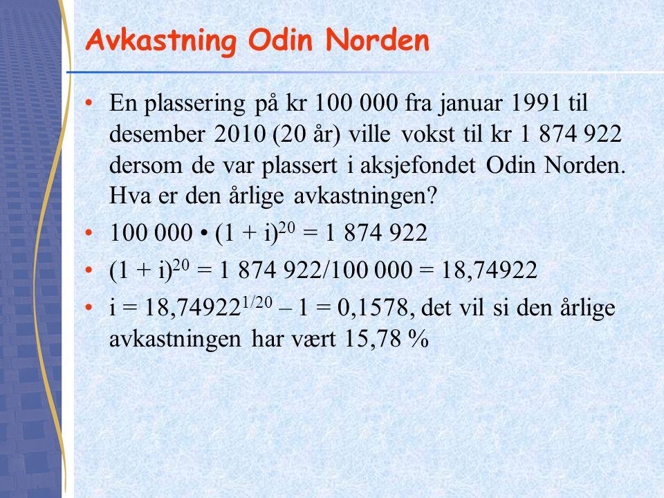 Avkastning Odin Norden •En plassering på kr 100 000 fra januar 1991 til desember 2010 (20 år) ville vokst til kr 1 874 922 dersom de var plassert i ak