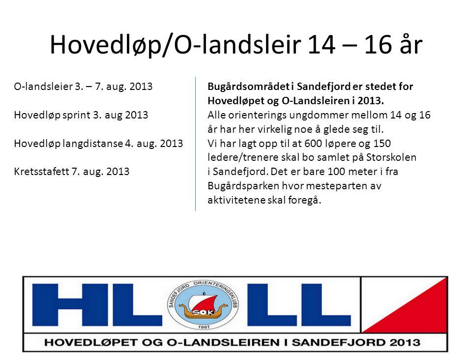 Hovedløp/O-landsleir 14 – 16 år Bugårdsområdet i Sandefjord er stedet for Hovedløpet og O-Landsleiren i 2013.