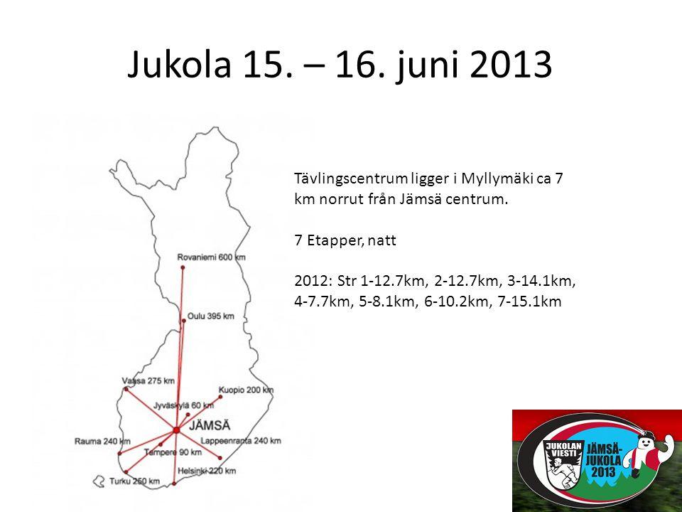 Jukola 15. – 16. juni 2013 Tävlingscentrum ligger i Myllymäki ca 7 km norrut från Jämsä centrum.
