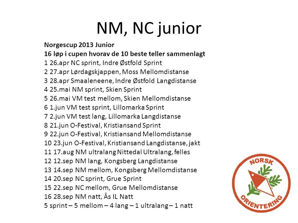 NM, NC junior Norgescup 2013 Junior 16 løp i cupen hvorav de 10 beste teller sammenlagt 1 26.apr NC sprint, Indre Østfold Sprint 2 27.apr Lørdagskjappen, Moss Mellomdistanse 3 28.apr Smaaleneene, Indre Østfold Langdistanse 4 25.mai NM sprint, Skien Sprint 5 26.mai VM test mellom, Skien Mellomdistanse 6 1.jun VM test sprint, Lillomarka Sprint 7 2.jun VM test lang, Lillomarka Langdistanse 8 21.jun O-Festival, Kristiansand Sprint 9 22.jun O-Festival, Kristiansand Mellomdistanse 10 23.jun O-Festival, Kristiansand Langdistanse, jakt 11 17.aug NM ultralang Nittedal Ultralang, felles 12 12.sep NM lang, Kongsberg Langdistanse 13 14.sep NM mellom, Kongsberg Mellomdistanse 14 20.sep NC sprint, Grue Sprint 15 22.sep NC mellom, Grue Mellomdistanse 16 28.sep NM natt, Ås IL Natt 5 sprint – 5 mellom – 4 lang – 1 ultralang – 1 natt