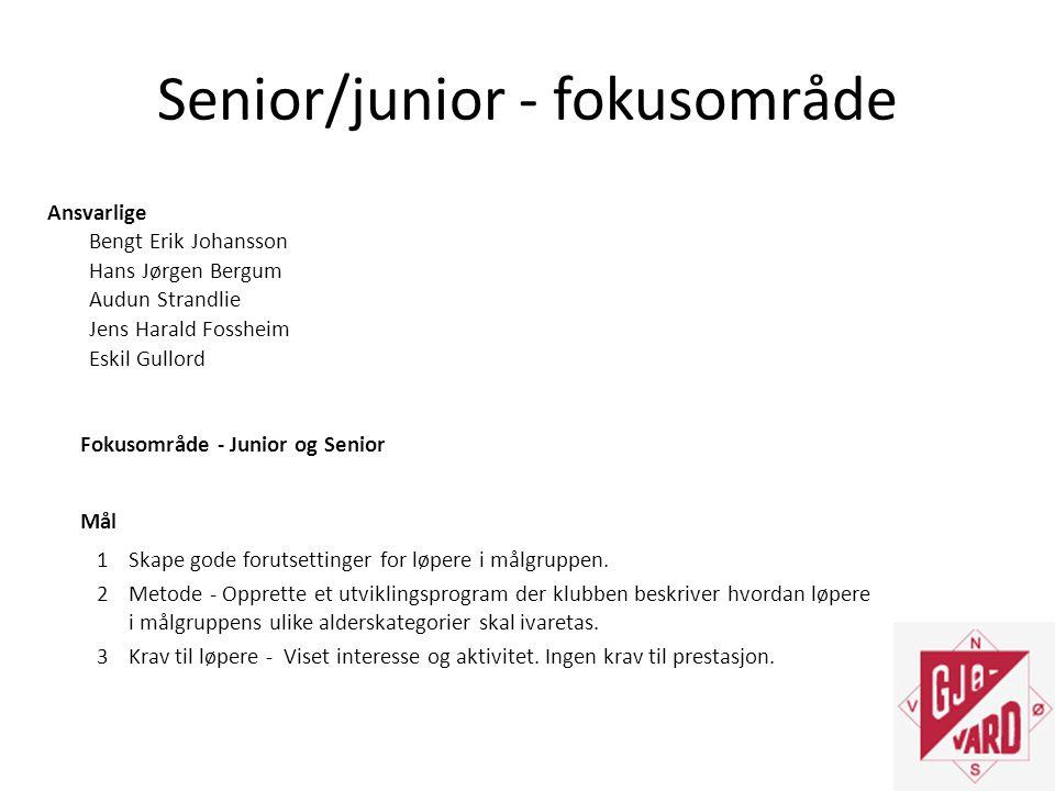 Senior/junior - fokusområde Ansvarlige Bengt Erik Johansson Hans Jørgen Bergum Audun Strandlie Jens Harald Fossheim Eskil Gullord Fokusområde - Junior og Senior Mål 1Skape gode forutsettinger for løpere i målgruppen.