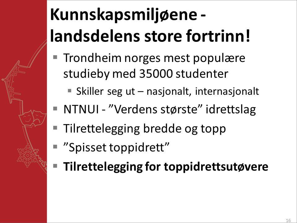 Kunnskapsmiljøene - landsdelens store fortrinn!  Trondheim norges mest populære studieby med 35000 studenter  Skiller seg ut – nasjonalt, internasjo
