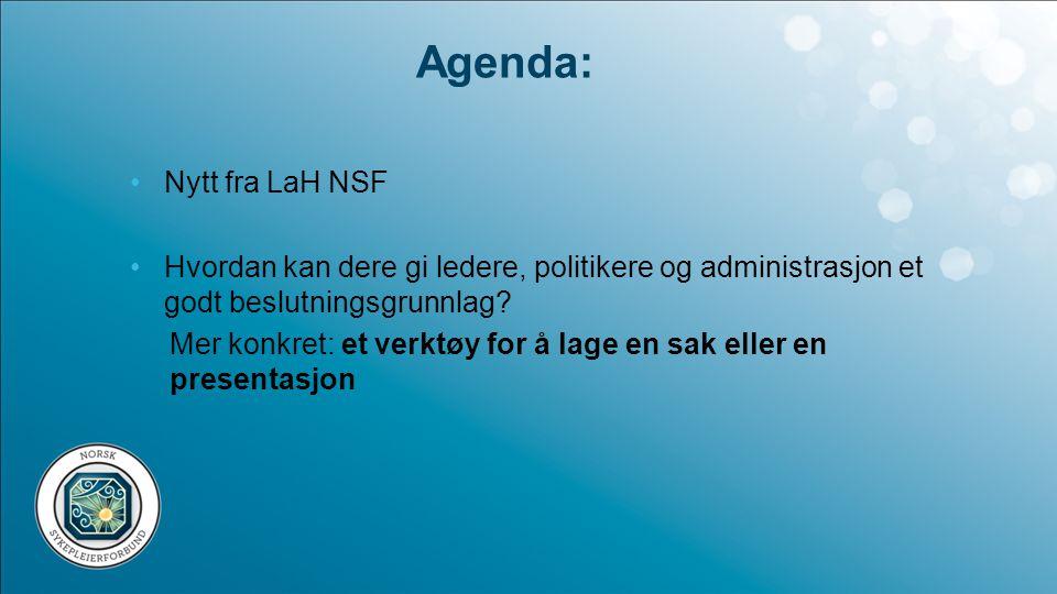 Nytt fra LaH NSF Gla'meldinger fra myndighetsnivå: •Det blir nasjonale faglige retningslinjer for helsestasjon og skolehelsetjenesten •Forskriftsarbeidet fortsetter •Nasjonalt tilsyn med helsestasjonen i 2013